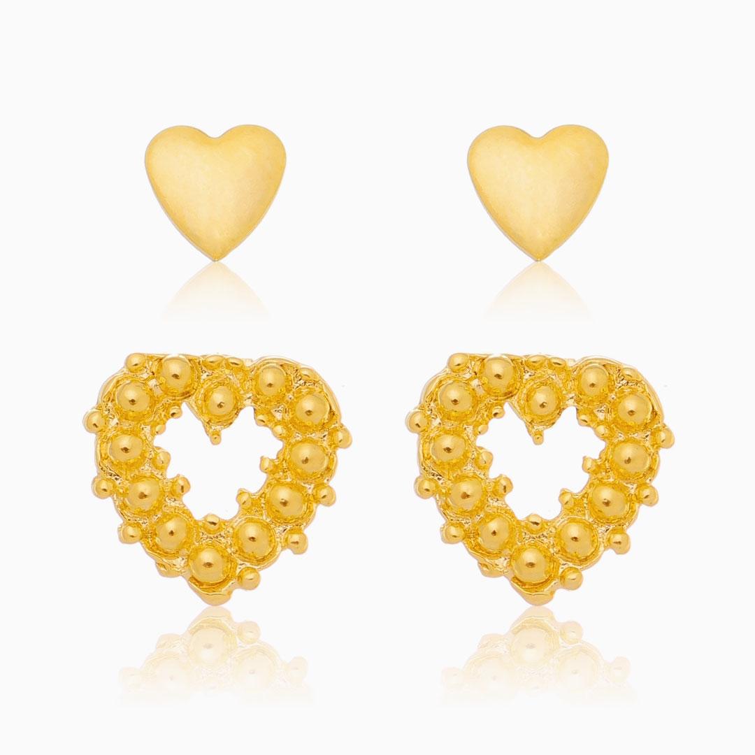 Kit de brincos de coração com bolinhas e liso banhado a ouro 18k