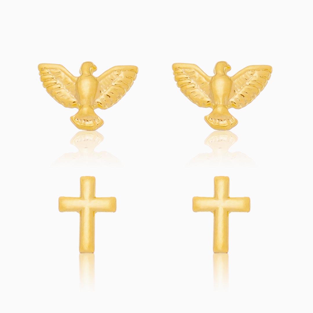 Kit de brincos espírito santo e cruz banhado a ouro 18k