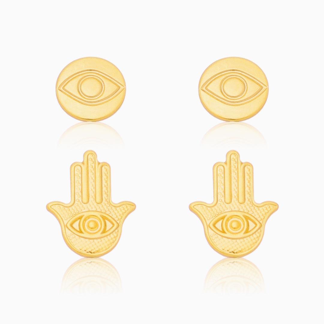 Kit de brincos mão de Fátima e olho grego banhado a ouro 18k
