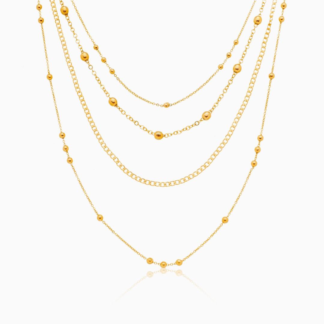 Mix de colares elos 4 em 1 banhado a ouro 18k