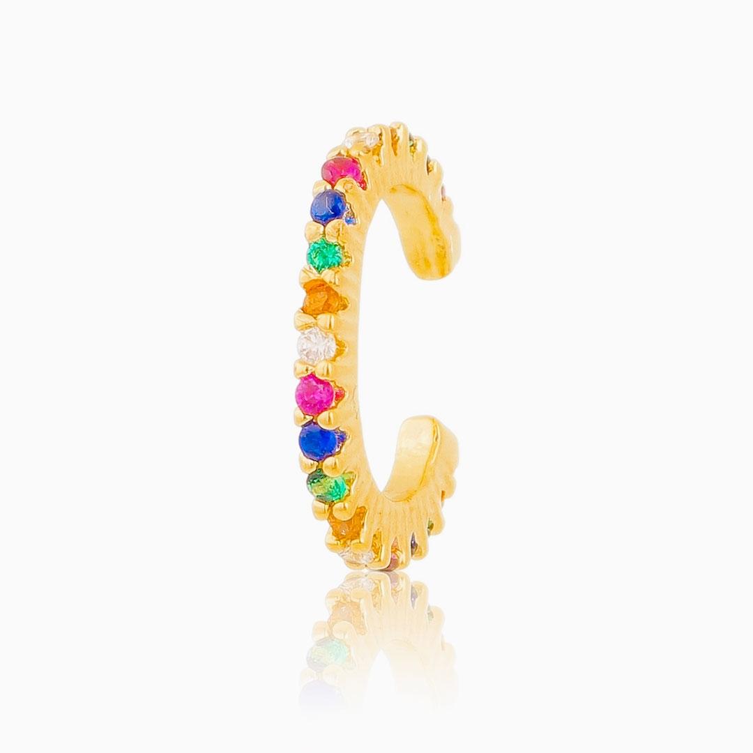 Piercing Alice cravejado colorido banhado a ouro 18k