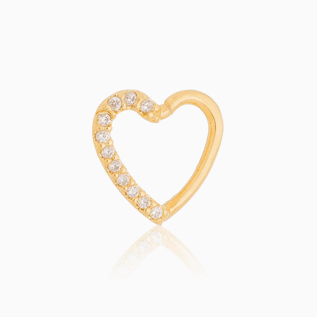 Piercing coração cravejado com zircônia banhado a ouro 18k