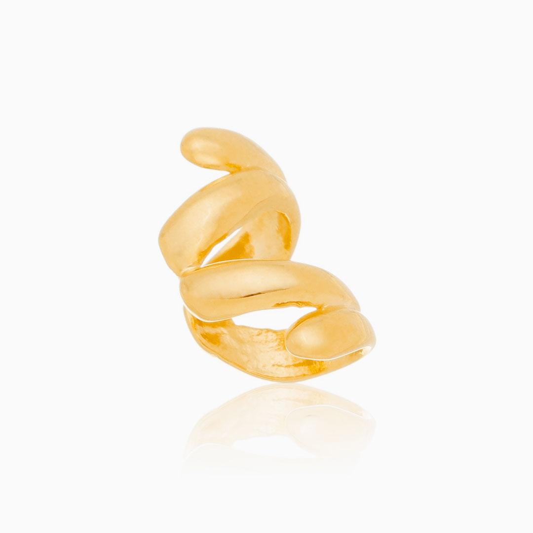 Piercing espiral banhado a ouro 18k