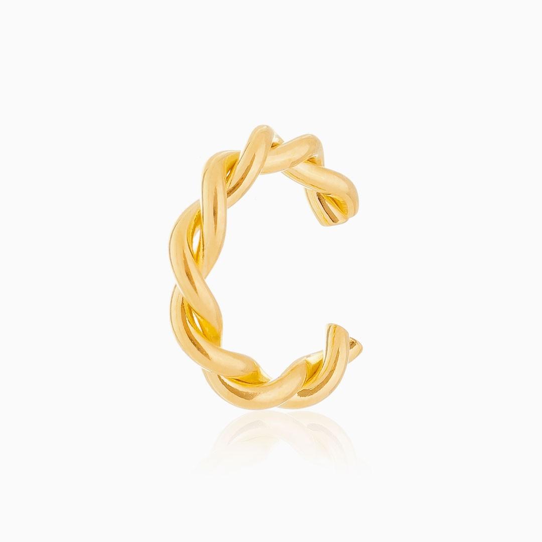Piercing torcido banhado a ouro 18k