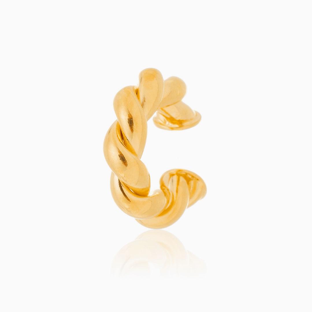 Piercing torcido grosso banhado a ouro 18k