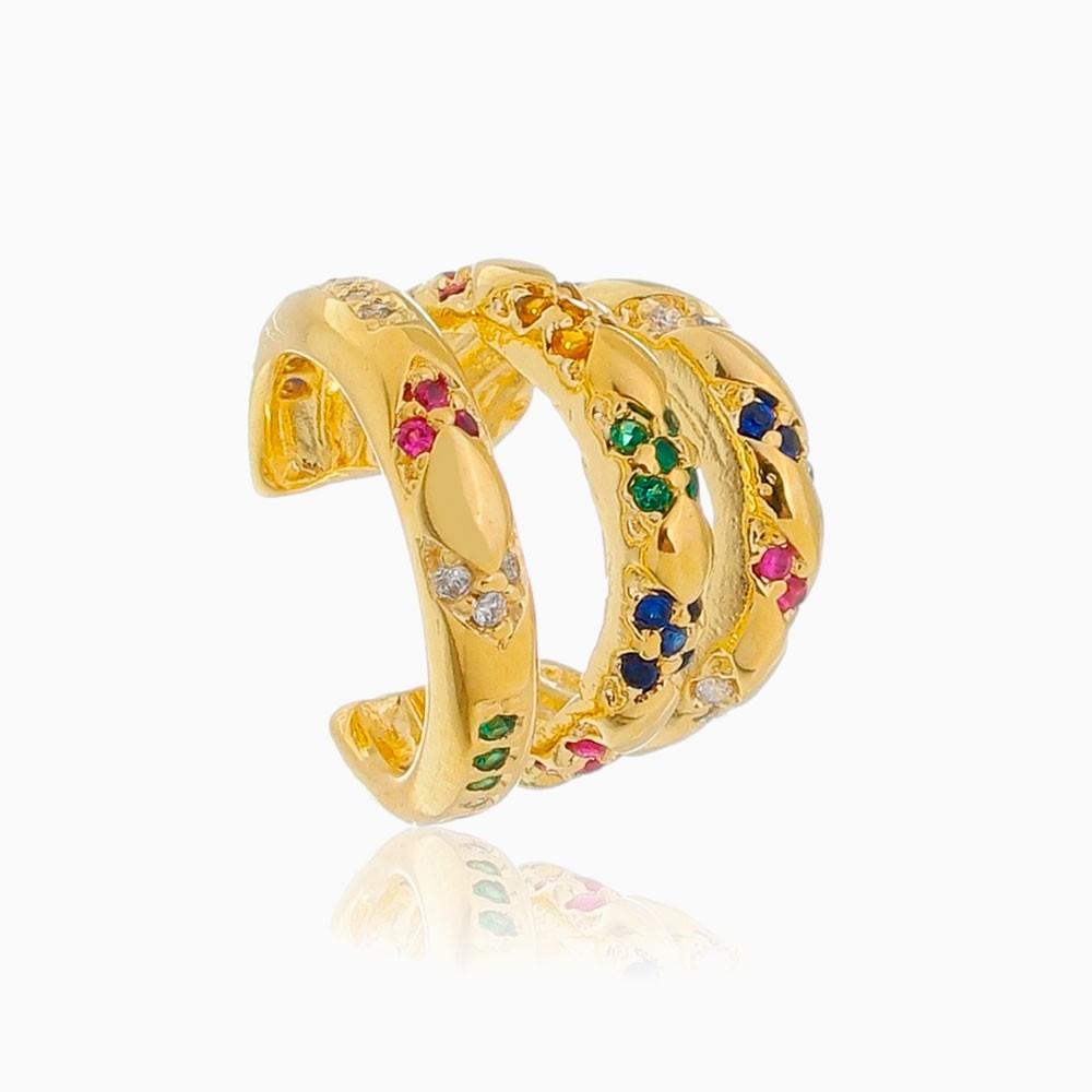 Piercing triplo cravejado colorido banhado  a ouro 18k