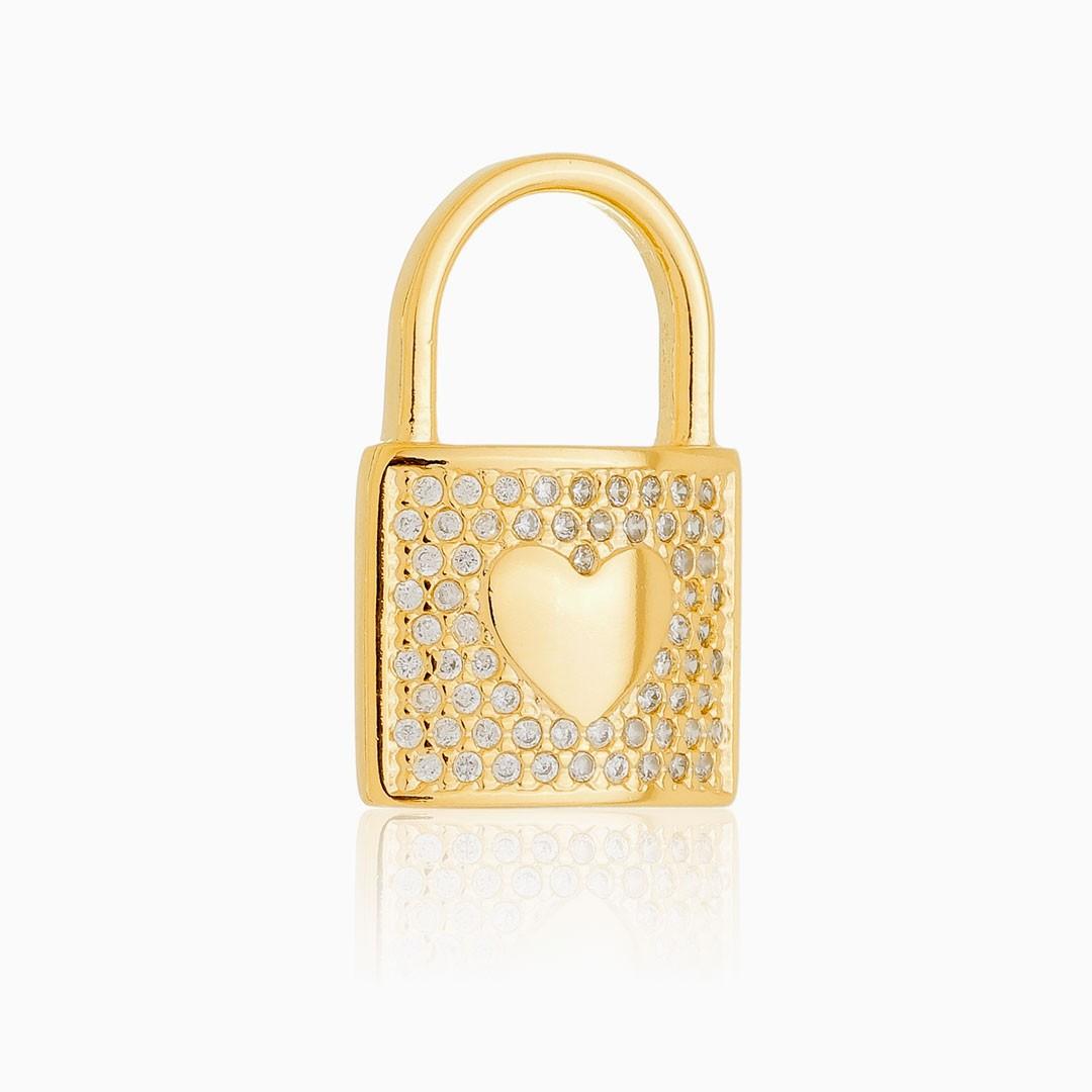 Pingente cadeado coração cravejado em zircônia banhado a ouro 18k