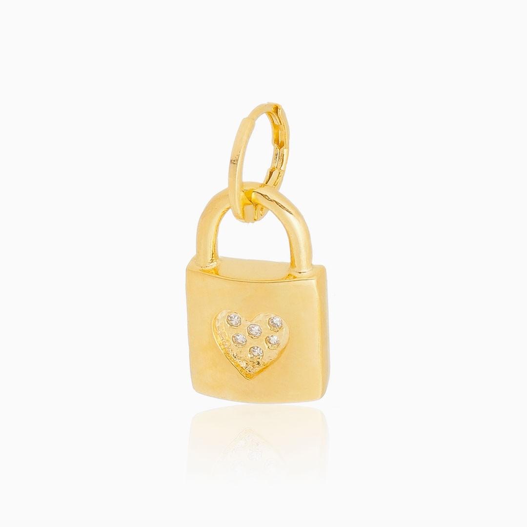 Pingente de cadeado com coração banhado a ouro 18k