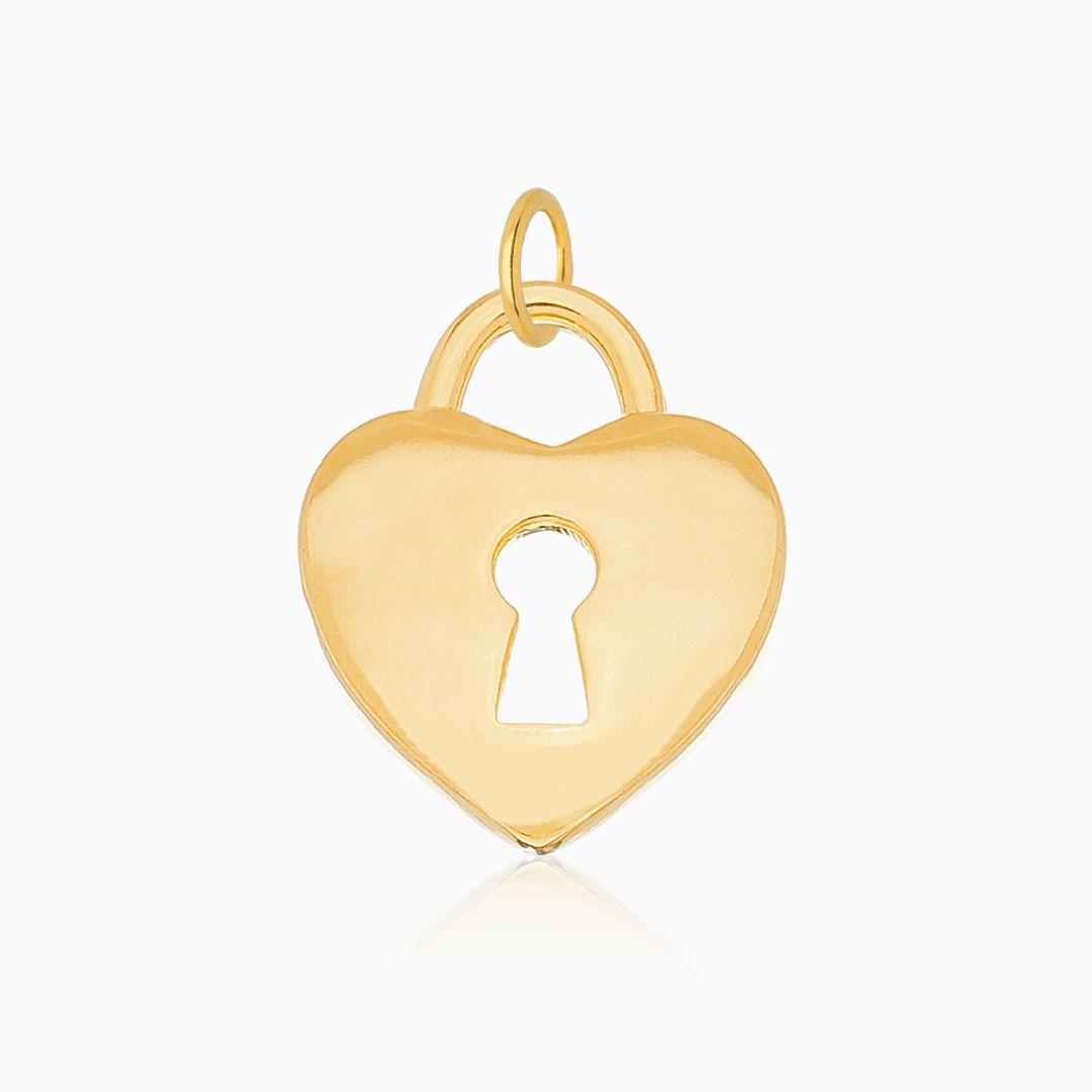Pingente de cadeado coração banhado a ouro 18k