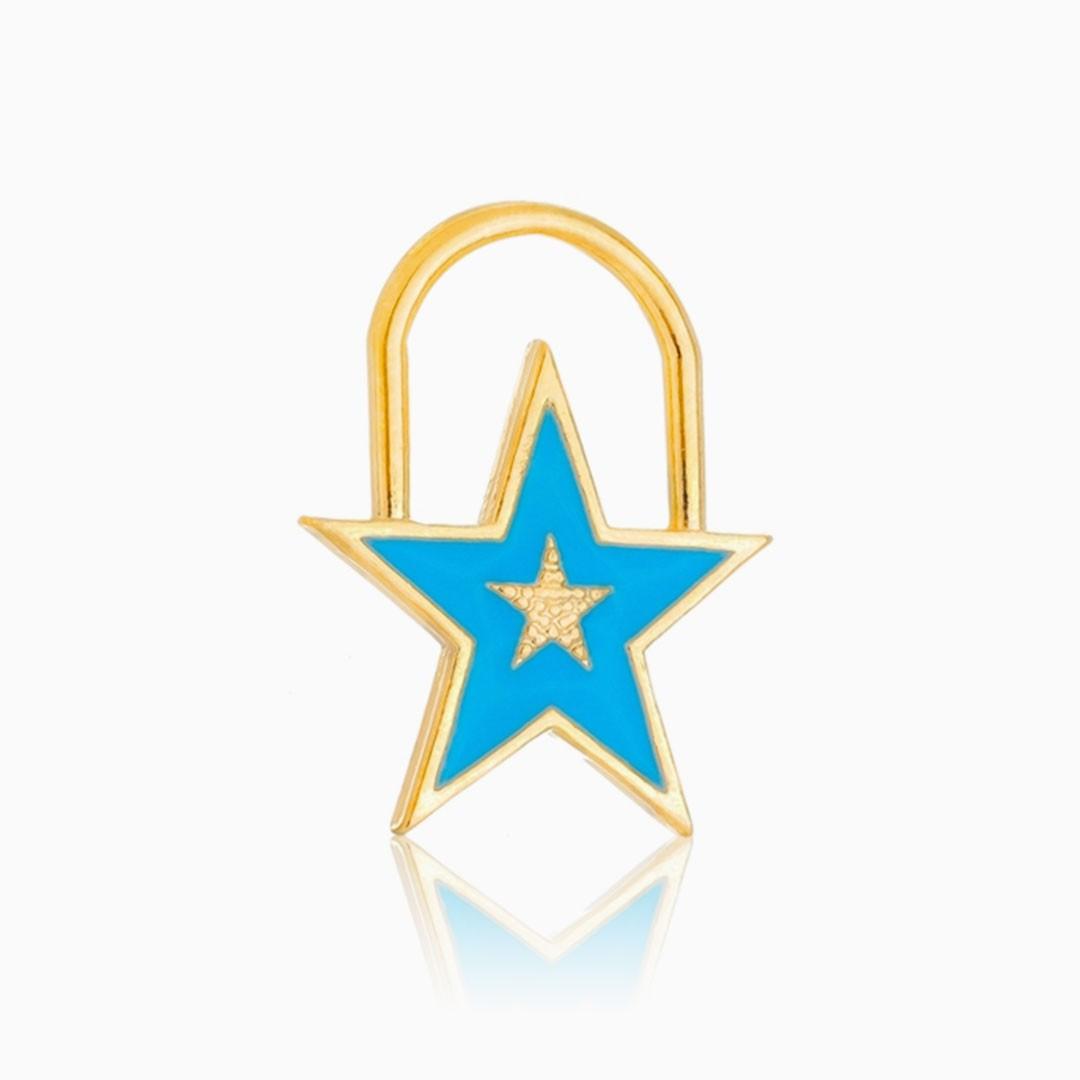 Pingente de estrela azul banhado a ouro 18k