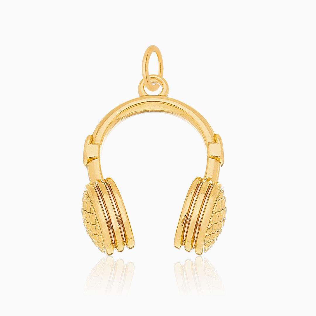Pingente de fone de ouvido banhado a ouro 18k