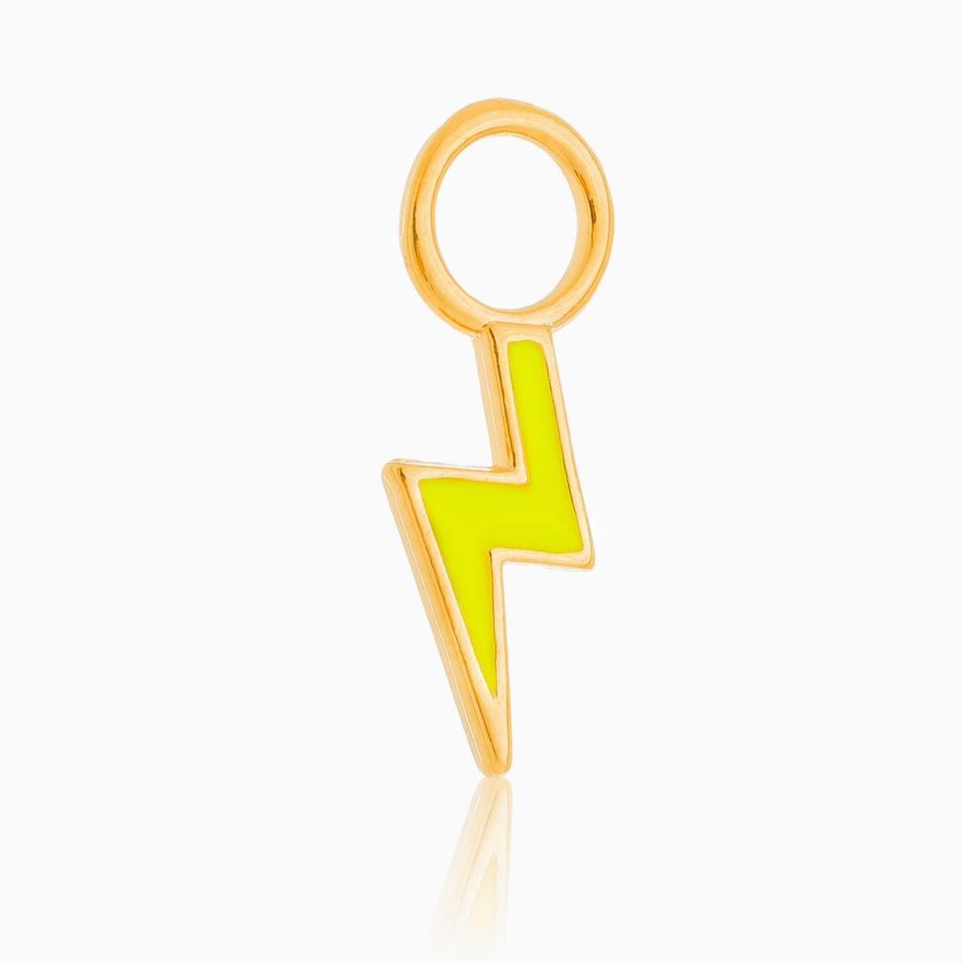 Pingente de raio neon banhado a ouro 18k