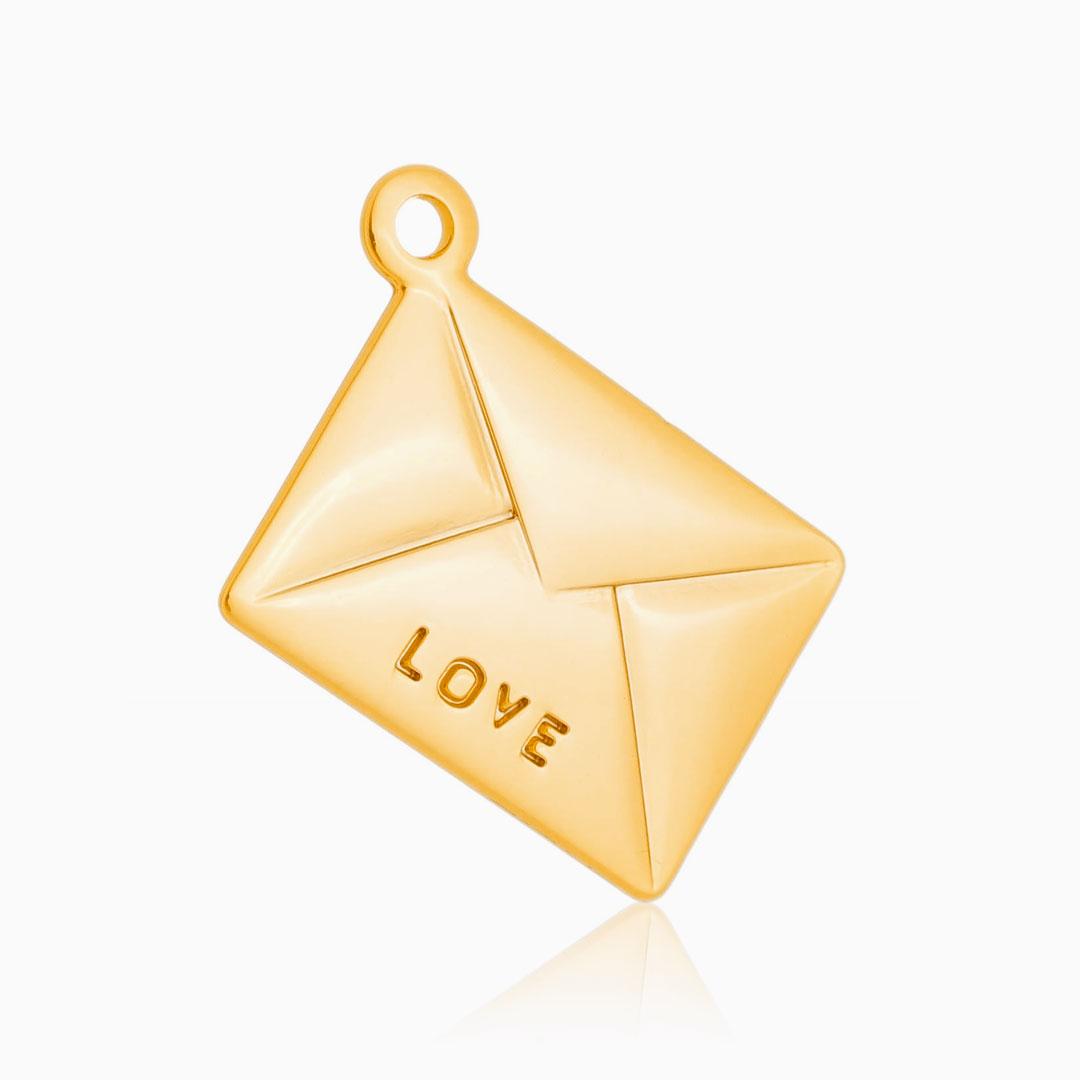 Pingente love banhado a ouro 18k