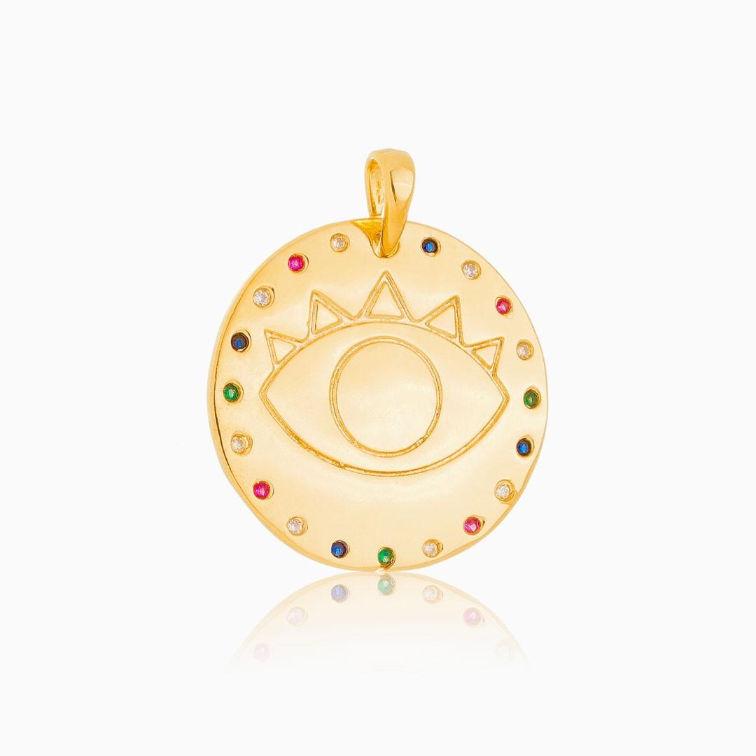 Pingente Maitê olho grego cravejado colorido banhado a ouro 18k