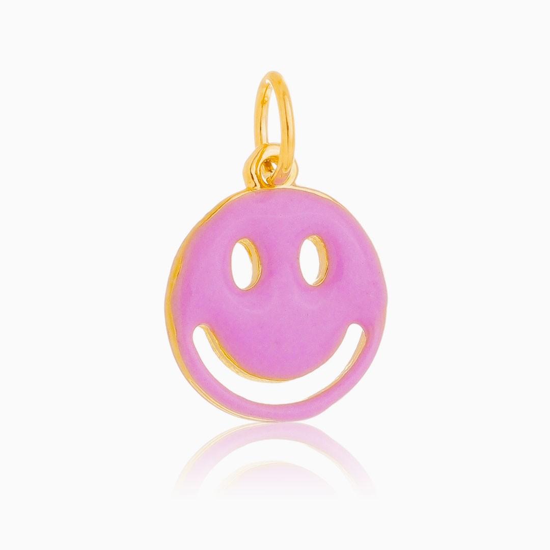 Pingente smile lilás banhado a ouro 18k