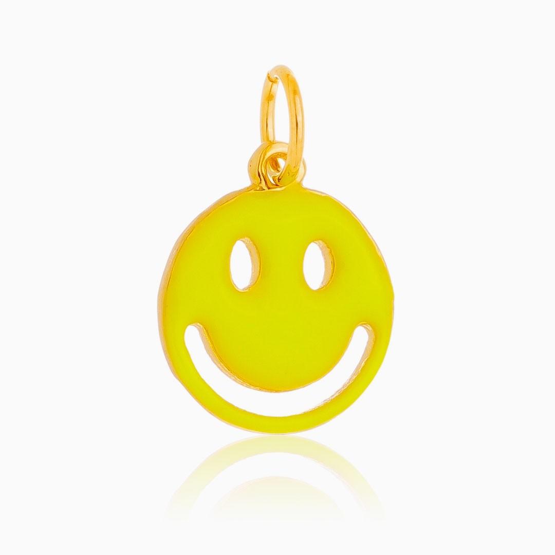 Pingente smile neon banhado a ouro 18k