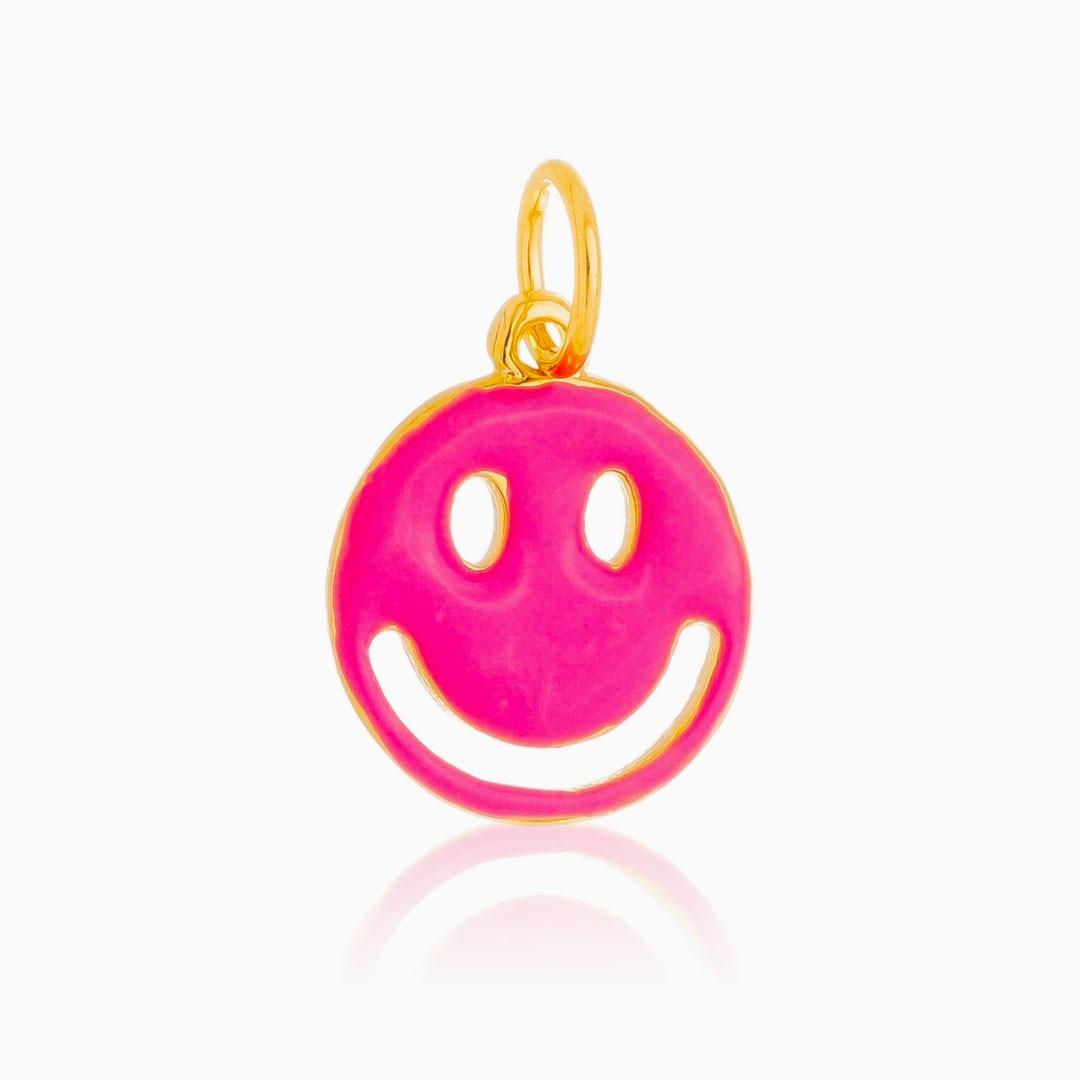 Pingente smile rosa banhado a ouro 18k