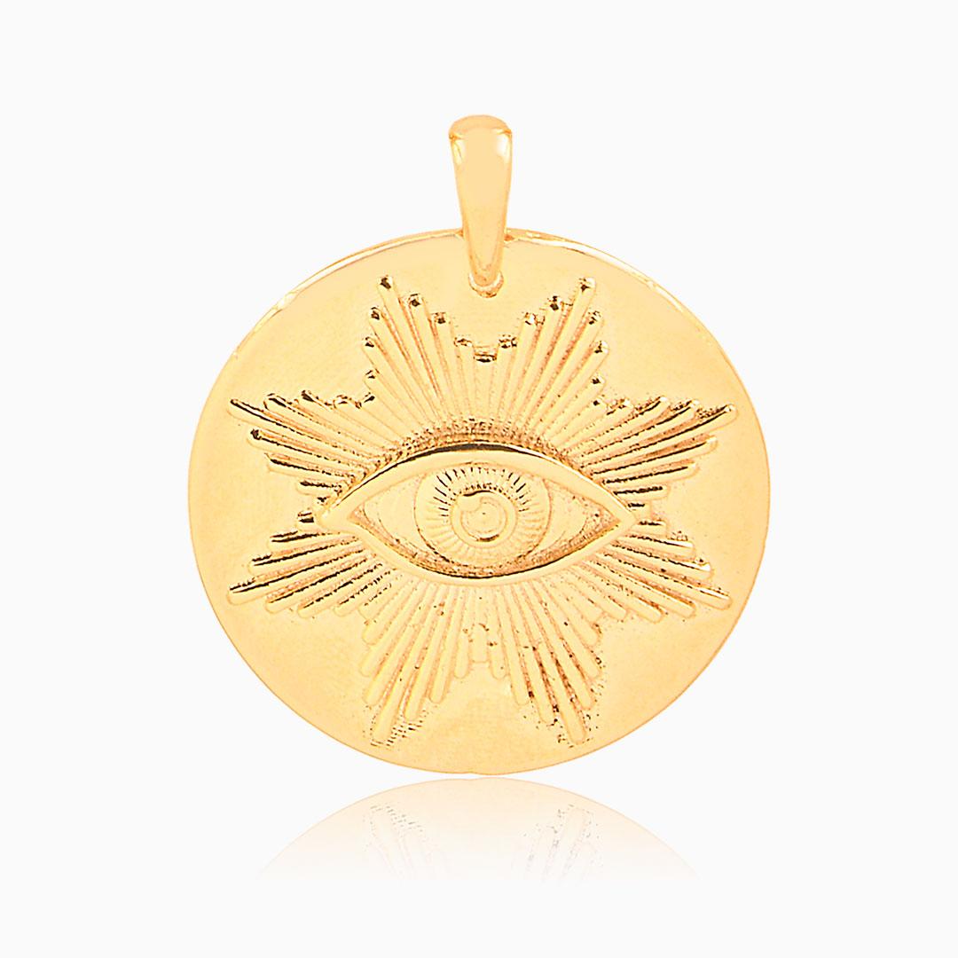 Pingente Tina olho grego  banhado a ouro 18k