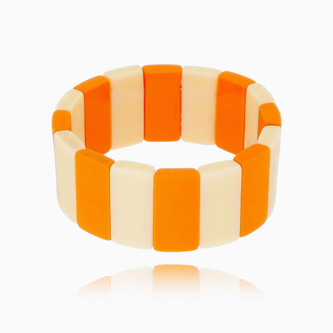 Pulseira Ana geométrica branca e laranja