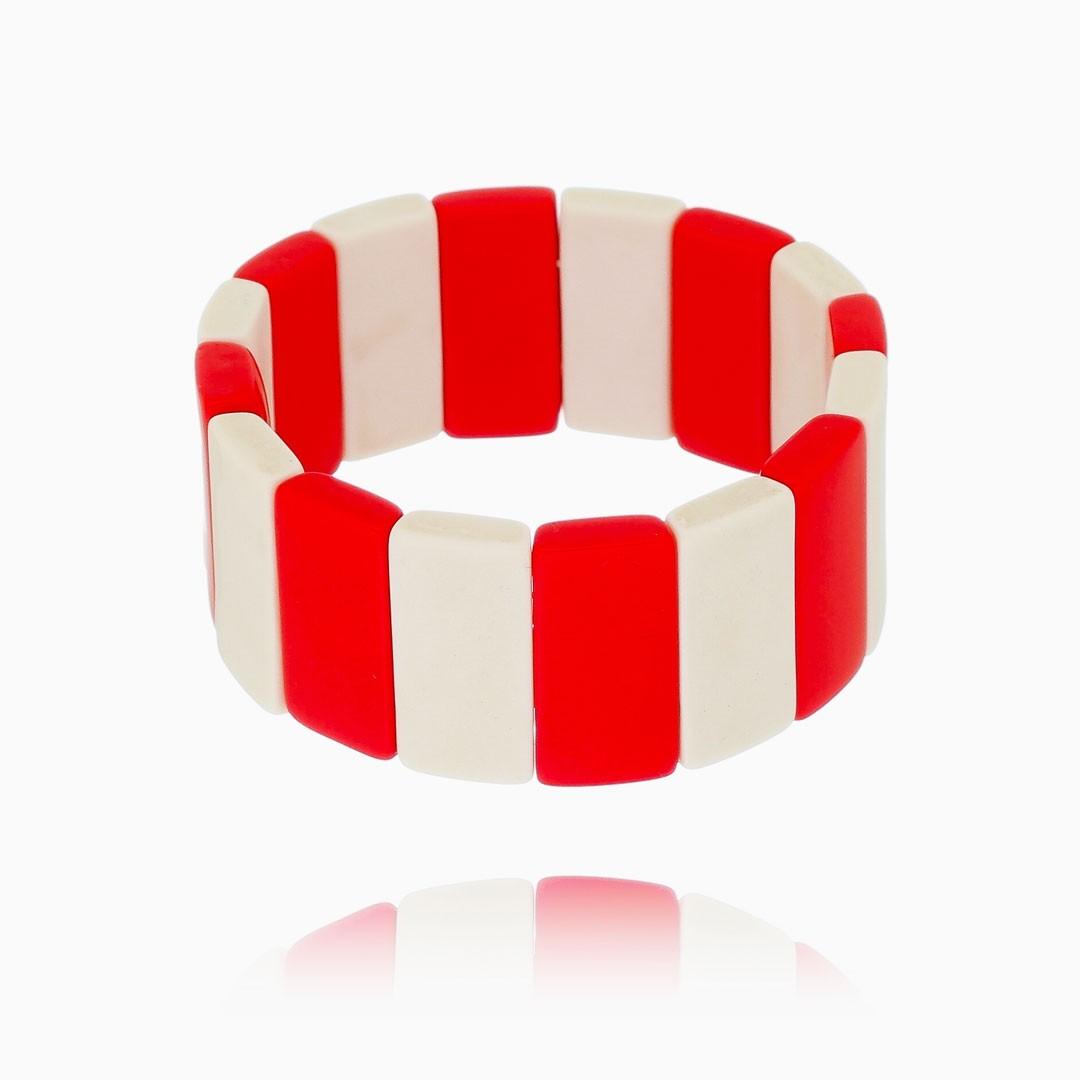 Pulseira Ana geométrica vermelha e branca