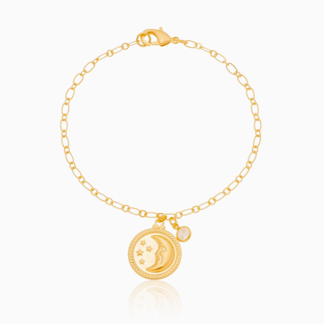 Pulseira de elos finos com medalha de lua e estrela banhada a ouro 18k