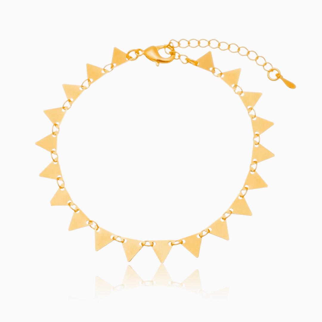 Pulseira Paloma com triângulos banhada a ouro 18k