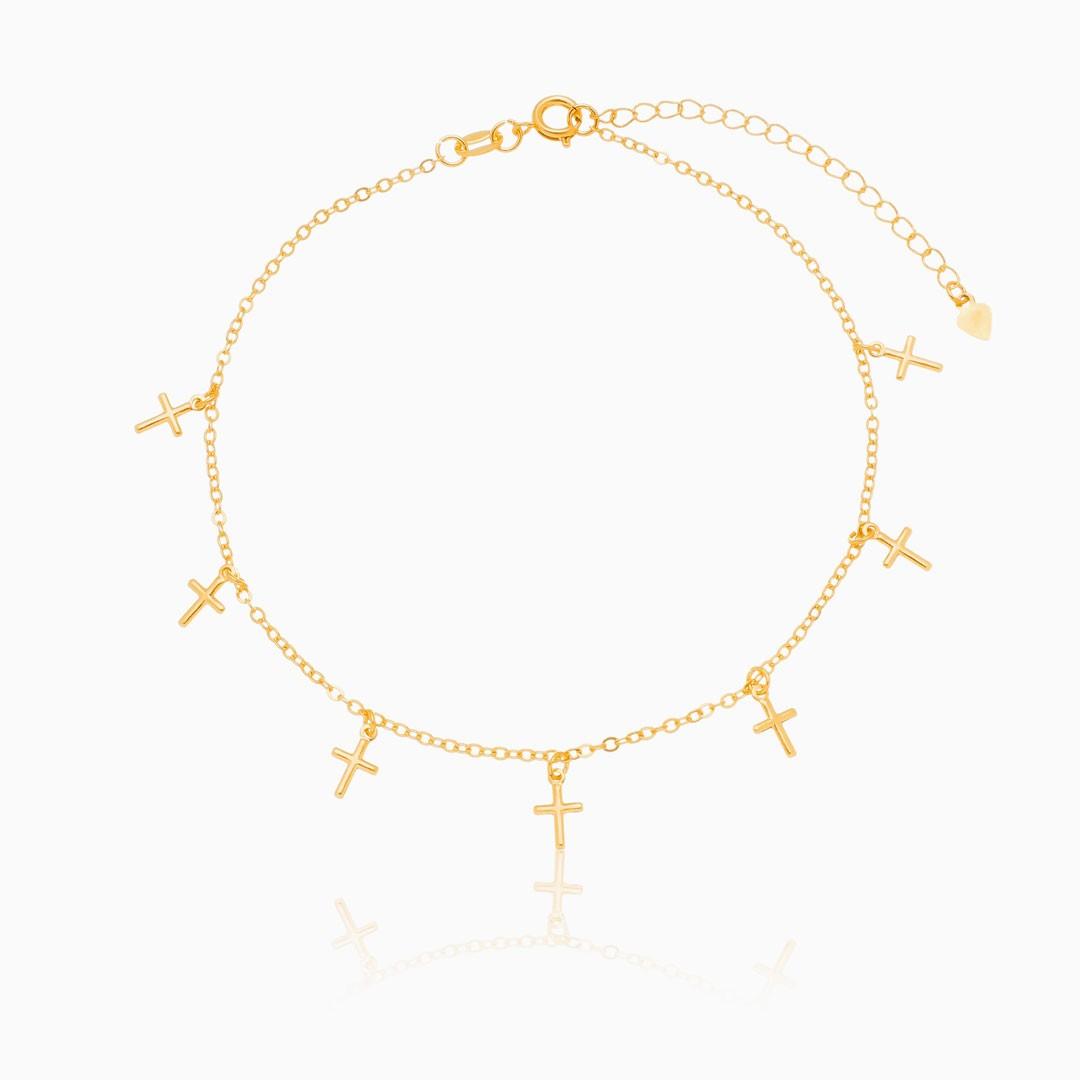 Tornozeleira Júlia com cruz banhada a ouro 18k