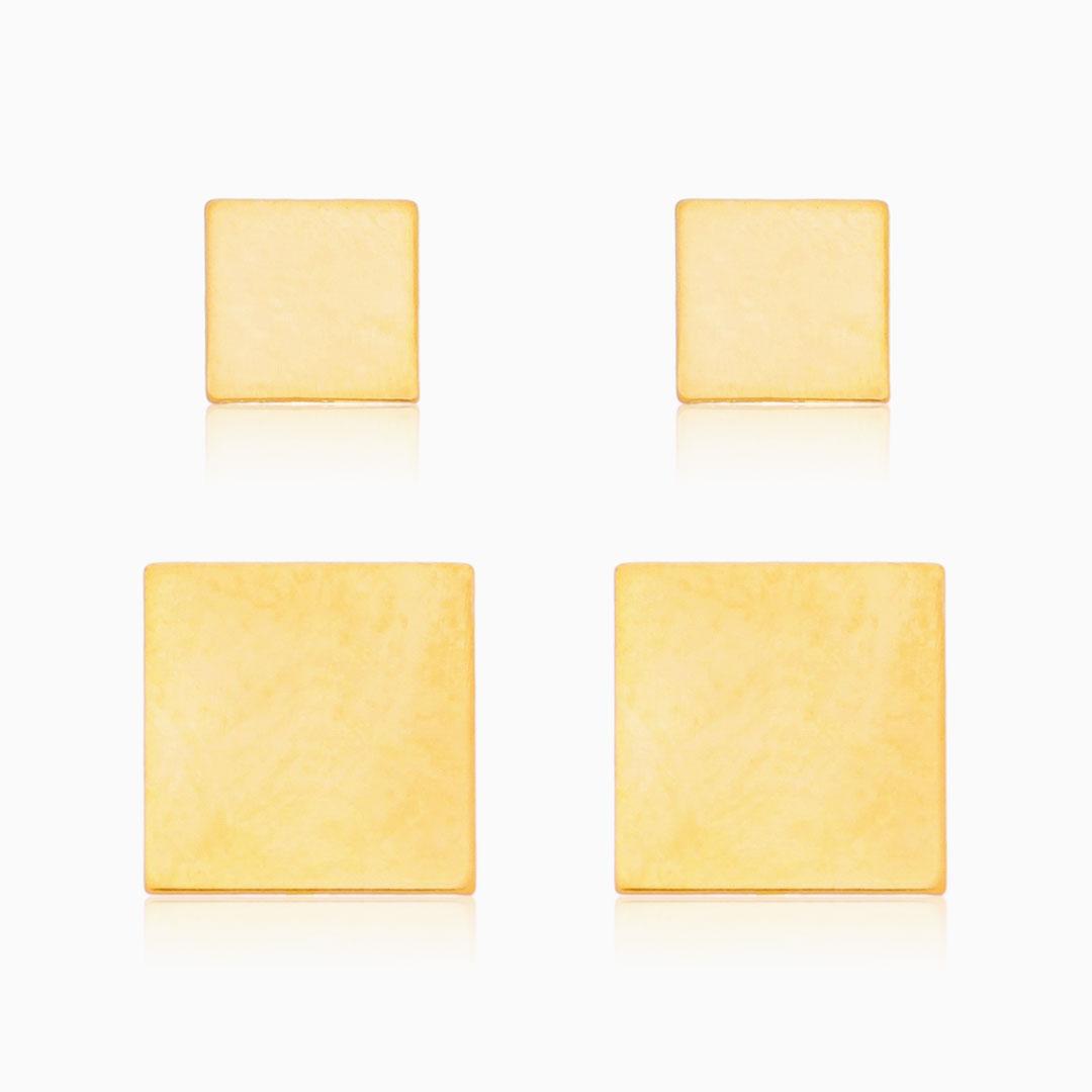 Kit brinco quadrado Bela  banhado a ouro 18k