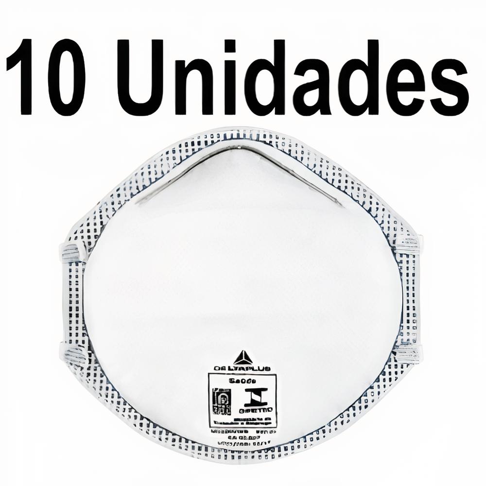 KIT 10 MÁSCARAS CONCHA SEM VALVULA PFF2 CARVÃO CONFORT - DELTA PLUS+