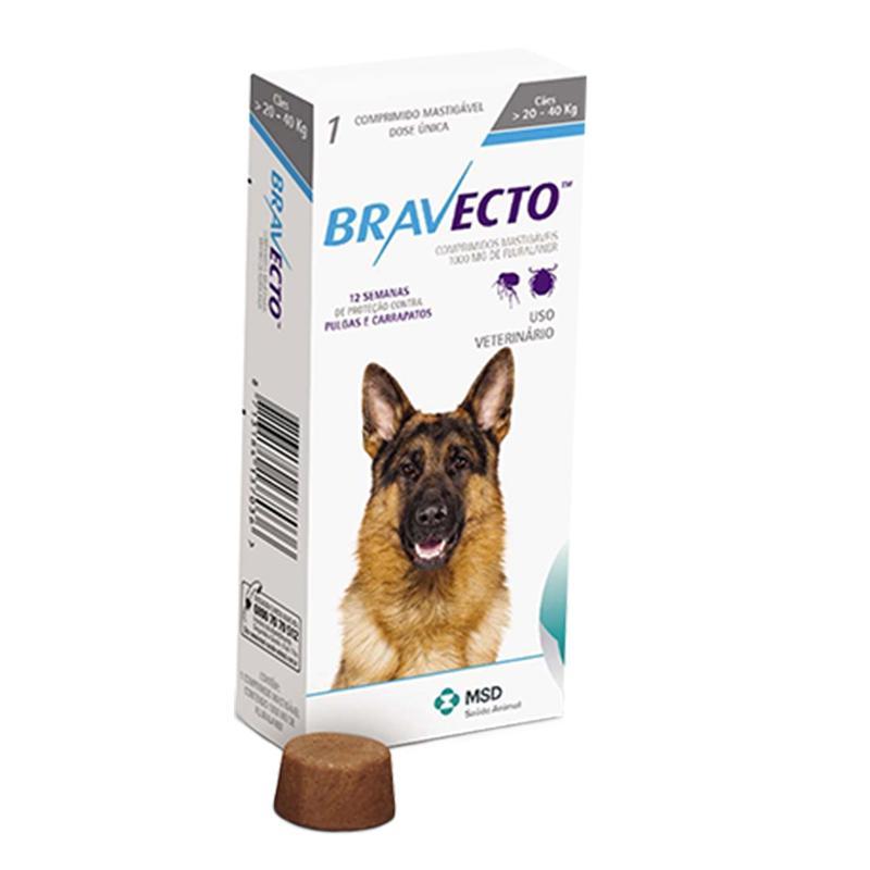 Antipulgas e Carrapatos Bravecto para Cães de 20Kg a 40Kg