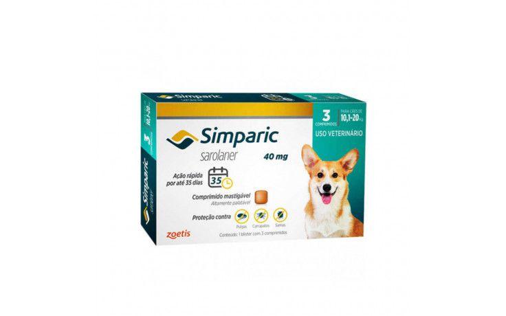 Antipulgas e Carrapatos para cães Simparic de 10,1 a 20 kg 3 comprimidos 40mg - Zoetis