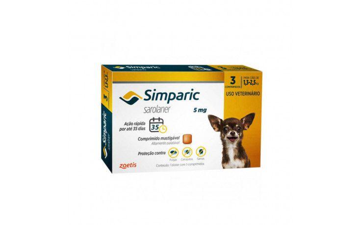 Antipulgas e Carrapatos para cães Simparic de 1,3 a 2,5 kg 3 comprimidos 5mg - Zoetis