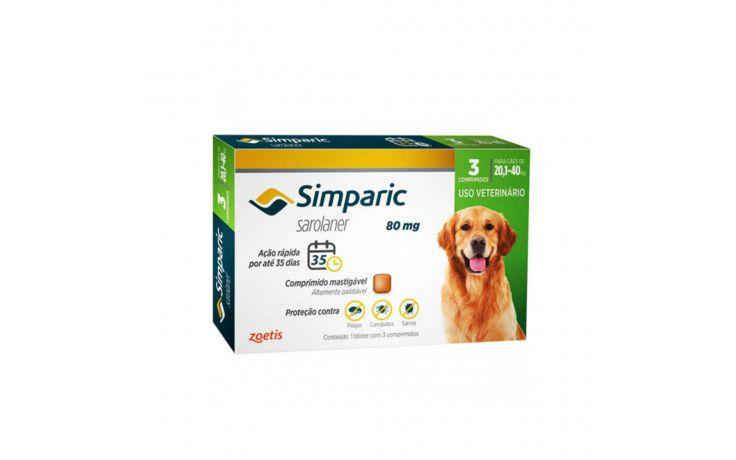 Antipulgas e Carrapatos para cães Simparic de 20 a 40 kg 3 comprimidos 80mg - Zoetis