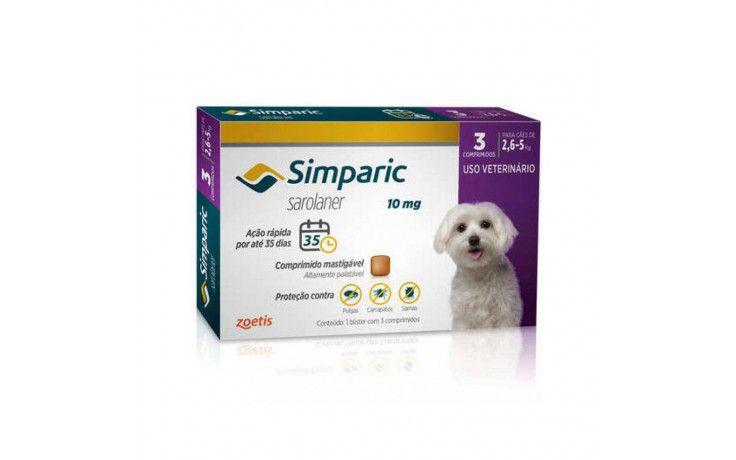 Antipulgas e Carrapatos para cães Simparic de 2,6 a 5kg 3 comprimidos 10mg - Zoetis