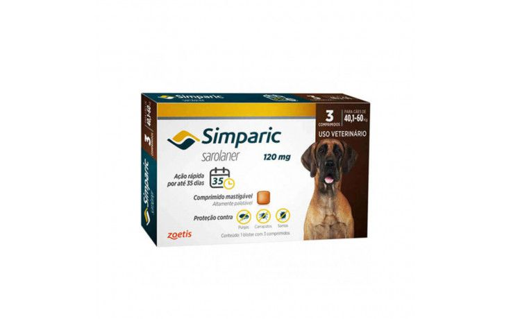 Antipulgas e Carrapatos para cães Simparic de 40 a 60 kg 3 comprimidos 120mg - Zoetis