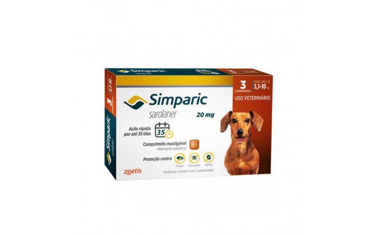 Antipulgas e Carrapatos para cães Simparic de 5,1 a 10 kg 3 comprimidos 20mg - Zoetis