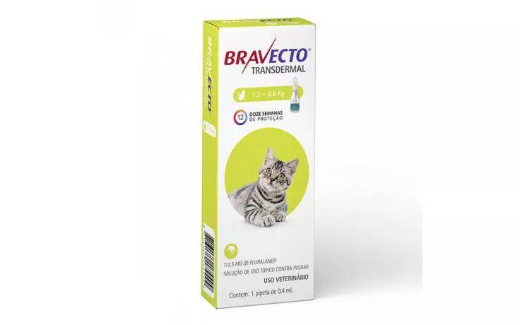 Bravecto Para Gatos Anti Pulgas E Carrapatos 1,2 A 2,8kg