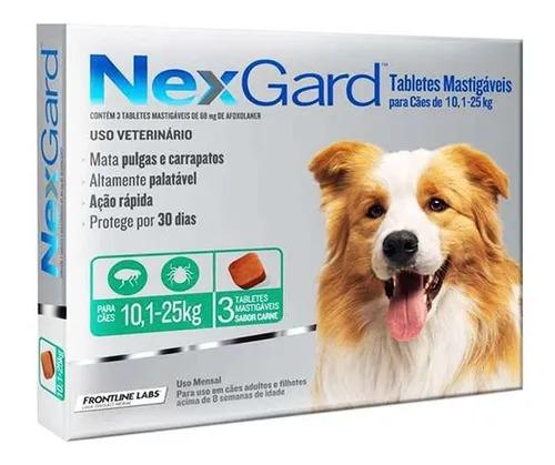 Nexgard para Cães entre 10,1 e 25kg - 3 Tabletes