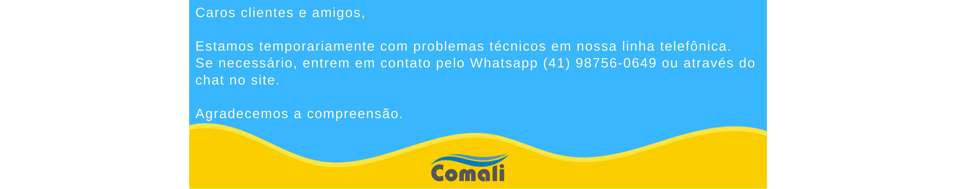 aros clientes e amigos, estamos temporariamente com problemas técnicos em nossa linha telefônica. previsão de normalização: 28/08/20. se necessário, entrem em contato pelo fone: (41) 98756-0649 ou atr