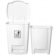 Lixeira Plástico 17 Litros com Pedal Branca - Perfect LPF17