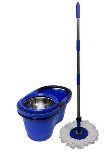 Balde Plástico com Centrífuga em Inox, Mop e Cabo 360º - Perfect Mop Pro 380898