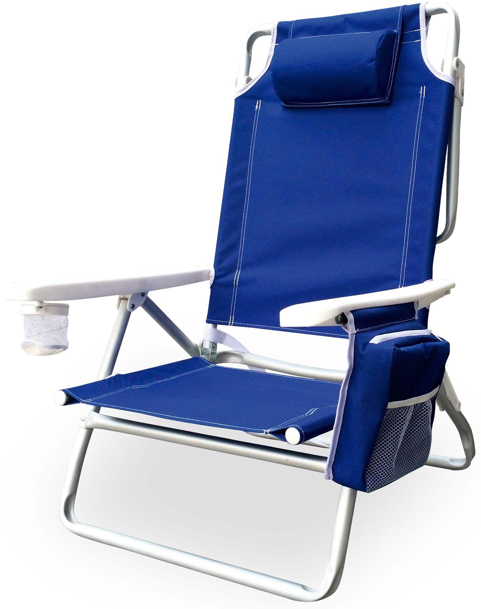 Cadeira de Praia Dobrável e Reclinável com Bolsa Térmica e Porta Copo Azul - Kala