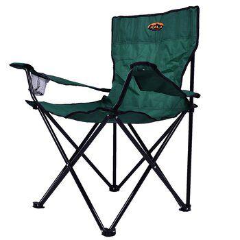 Cadeira de Praia Dobrável em Poliéster com Porta Copo e Apoio de Braço Verde - Kala