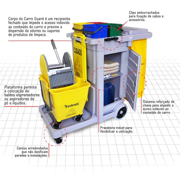 Carro Funcional Guard - Carrinho de Limpeza com fechamento - Amarela - Bralimpia - CÓD GUARDAM