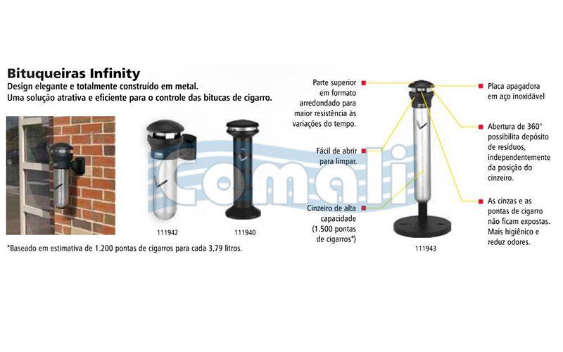 Cinzeiro Infinity Alta Capacidade Preto - FG9W3400BLA - Rubbermaid