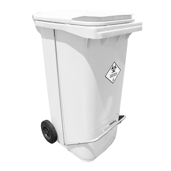 Contentor Hospitalar 240 litros c/Pedal (coletor de resíduos) Branco - Contemar