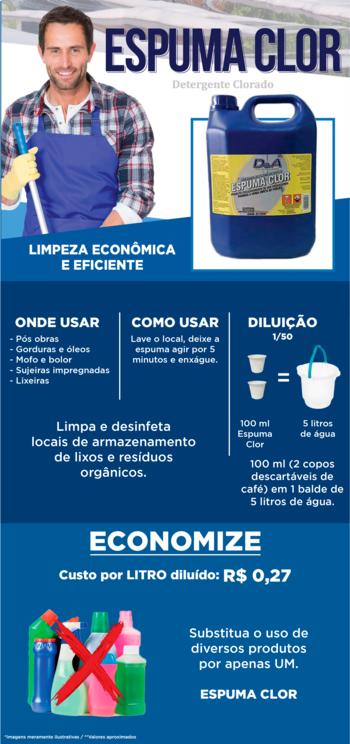 Detergente e Desincrustante Alcalino Clorado Concentrado Espuma Clor 1L