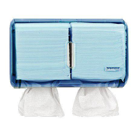 Dispenser Múltiplo para Papel Toalha Interfolhado ou Higiênico Cai Cai - Urban Glass Azul - Premisse