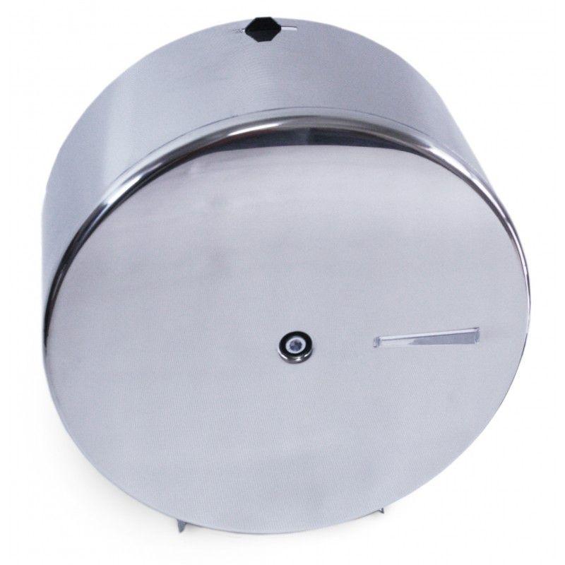 Dispenser Reforçado  em Aço Inox p/ Papel Higiênico Rolão 400m com suporte p/ Cadeado - Aurimar
