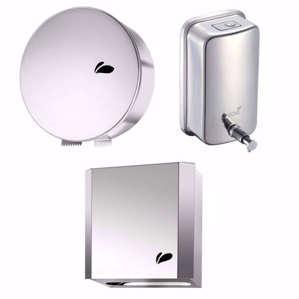 Kit Dispensers Aço Inox - P/ Papel Hig. Rolão (13.02) + Toalheiro (833) + Saboneteira (1011) - Biovis